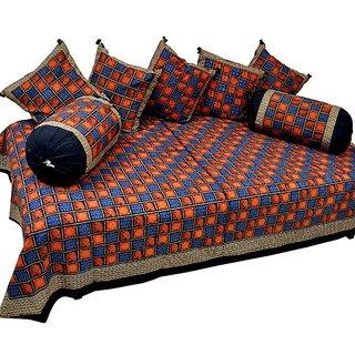 Jaipuri 8 Piece Block Print Dewan Bed Cover -354