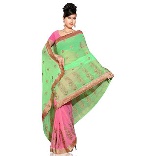 PAANERI GREEN AND PINK COLOR HALF & HALF CHIFFION PALLU AND ZARI WORK SAREE