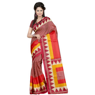 Fabdeal Maroon  Beige Colored Khadi cotton Printed Saree