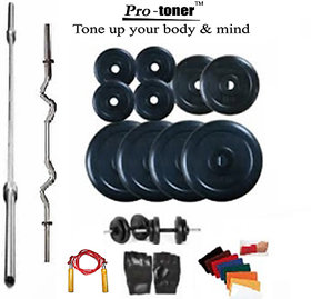 Protoner Weight Lifting Home Gym 30 Kg + 4 Rods (1 Curl)+ Gloves+ Rope+W Band