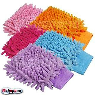 Set Of 5 Car Cleaning Glove Cloth Micro Fibre Hand Wash