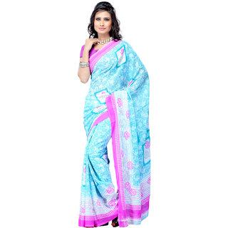 Aaliya Sky Colored Heavy Dani Georgette Printed Saree with Blouse