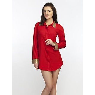 Schwof Red Shirt Dress