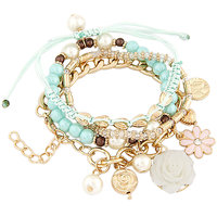 Young & Forever Elegant Blue Beads Multilatered Bracelet (Set Of 4) For Women