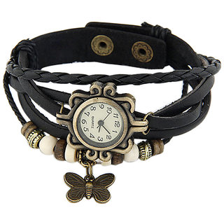 Young & Forever Elegant Black Leather Vintage Butterfly Bracelet Watch For Women