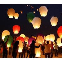 5pcs Pack Sky Lantern Wish Glow Lantern New Year Lamp Flying Candle KANDIL Diya Lights Wax Gift Birthday Party Paper Christmas Flying Birthday - 6358986