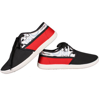 Comfort Cotton Casual Shoes For Men, Black-Red