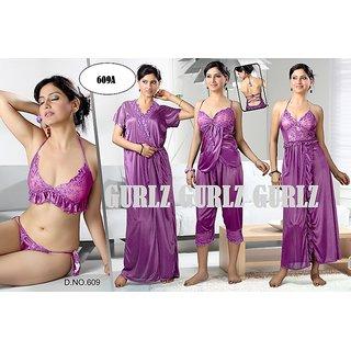 Womens Sleep Wear 6pc Bra Panty Top Capri Nighty Over Coat Hot Sexy  Babydoll Night Set 34956c604