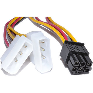 6 pin pci e to 2 x 4 pin molex power adapter converter cable graphic rh shopclues com Molex to 8 Pin Adapter PCIe Connector