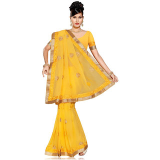 PAANERI YELLOW COLOR CHIFFION SAREE WITH RESHAM AND ZARI WORK