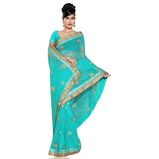 PAANERI BLUE COLOR CHIFFION SAREE WITH RESHAM AND ZARI WORK