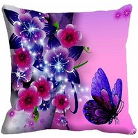 MeSleep Flower Abstract With Butterfly Digitally Printed Cushion Cover (16x16)
