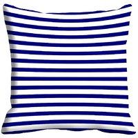 MeSleep Blue Stripes Digitally Printed Cushion Cover (16x16)