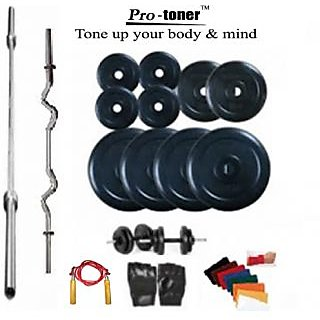 Protoner Weight Lifting Home Gym 70 Kg + 4 Rods (1 Curl) + Gloves + Rope+ Wrist band