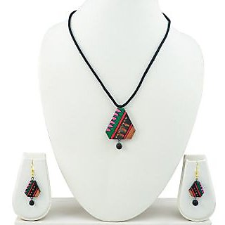 Handmade Terracotta Jewellery Set Multicolor