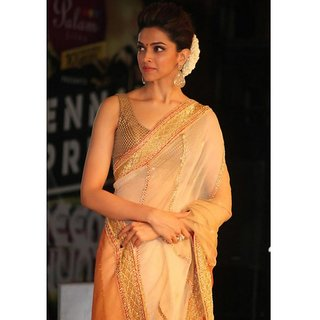 Deepika Padukone Cream Net Saree