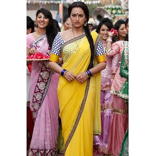 BOLLYWOOD DABANG2 SONAKSHI DESIGNER CHIFFON YELLOW SAREE