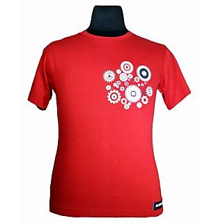 Moksa Men's Red Round Neck T-Shirt