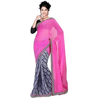 Firstloot Chic Geometrical Printed Chiffon Saree