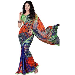 Firstloot Picturesque Colorful Printed Faux Georgette Saree