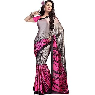 Firstloot Charming Dual Colored Printed Crape Saree