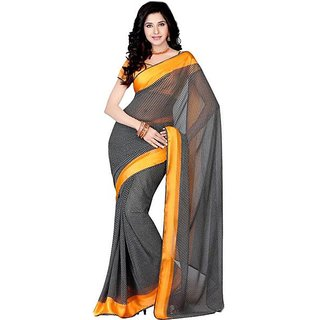 Firstloot Lovely Contrast Bordered Printed Satin Saree