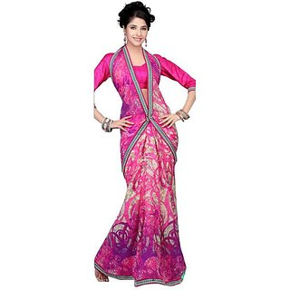 Firstloot Classy Abstract Printed Faux Georgette Saree