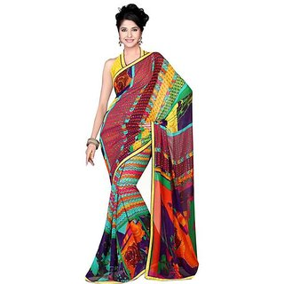 Firstloot Charming Colorful Printed Faux Georgette Saree