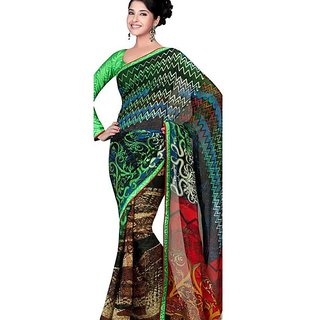 Firstloot Pleasing Printed Faux Georgette Saree