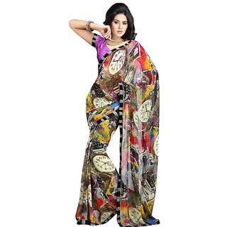 Firstloot Smart Printed Casual Wear Faux Georgette Saree