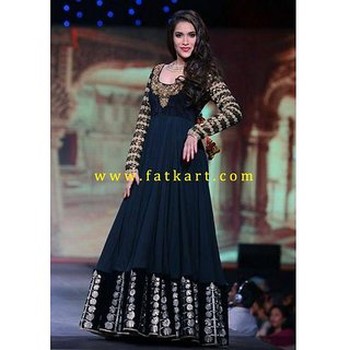 Rashmi Nigam Black Color Floor Length Bollywood Anarkali Suit