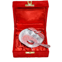 Silver Plated Apple Shaped Brass Bowl With Spoon & Box Packing