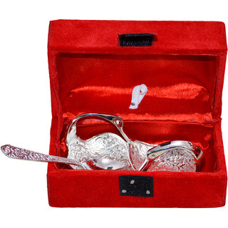 Silver Plated Twin Swan Shaped Bowl With Spoon Set Of 2 Pcs