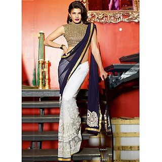 Jacqueline Fernandez Off White, Navy Blue Designer Half and Half Saree