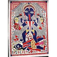 The Goddess Kali Standing On Shiva, Water Color Painting