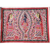 Madhubani Painting, Krishna And The Milkmaids