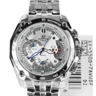 CASIO EDIFICE EF 550D 7AVDF WHITE DIAL CHRONOGRAPH STYLISH MENS WRIST WATCH GIFT