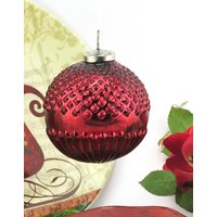 Structured Christmas Hanging Glass Ball Ornament (Round) - 6409878