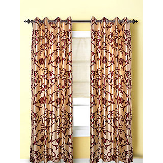 Door Curtain (4x7 feet) l marron flower