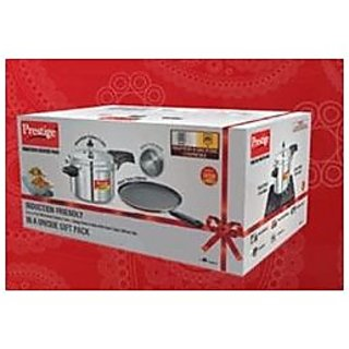 Prestige Induction Starter Pack (Deluxe Plus 5 Ltr Cooker + Omega Deluxe Omni Tawa 280mm) NOW ALSO GET FREE AAPAM TAWA WORTH MRP OF 300 RS.