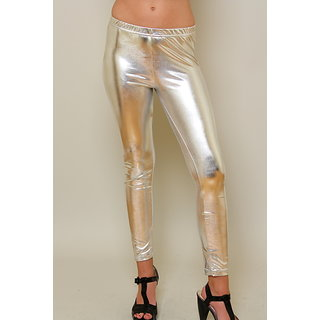 Shinny Wet Look Silver Legging Fottless Tights Fits Waist 24 to 34 Liquid leggings 1pc Fancy Spandex Slacks