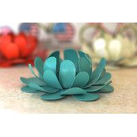 Flower T-Light Holder Powder Coated Blue