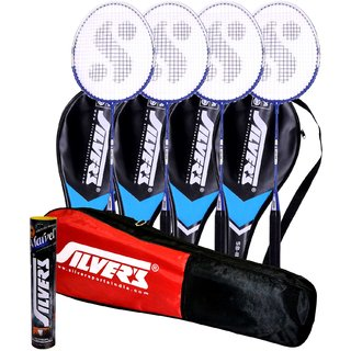 4 SILVER'S SB 818 BADMINTON RACKETS WITH 4 INDIVIDUAL 3/4TH COVERS ASSORTED  And 1 BOX SILVER'S SHUTTLECOCK MARVEL PACK OF 10  And 1 SILVER'S KITBAG  1 COMPARTMENT And 1 POCKET