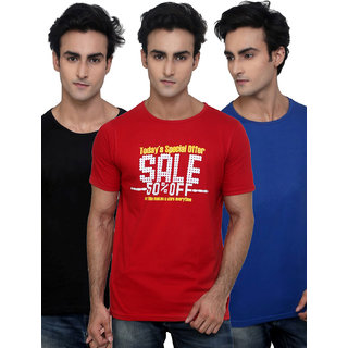 Incynk Pack Of 1 Printed & 2 Plain Cool Round Neck T Shirts In Blue/Black/Red