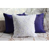 Purple And White Cushion Cover ( Set Of 3 )
