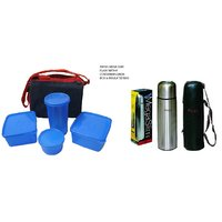 Combo Of  Lunch Box With Microwave Safe 4 Containers & Insulated Bag & Mega Slim