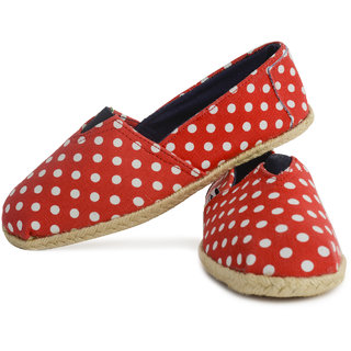 Buylane Red Polka Print Cotton Canvas Jute Laces Casual Loafers