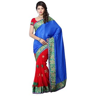 First Loot Blue And Red Color Art Silk Saree - Divdfs458A