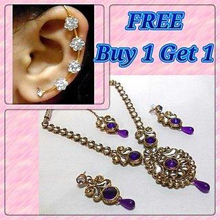 Buy 1 get 1 free purple drop kundan necklace set