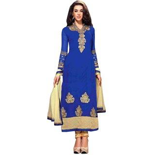 Triveni Alluring Blue Colored Embroidered Faux Georgette Salwar Kameez (Unstitched)